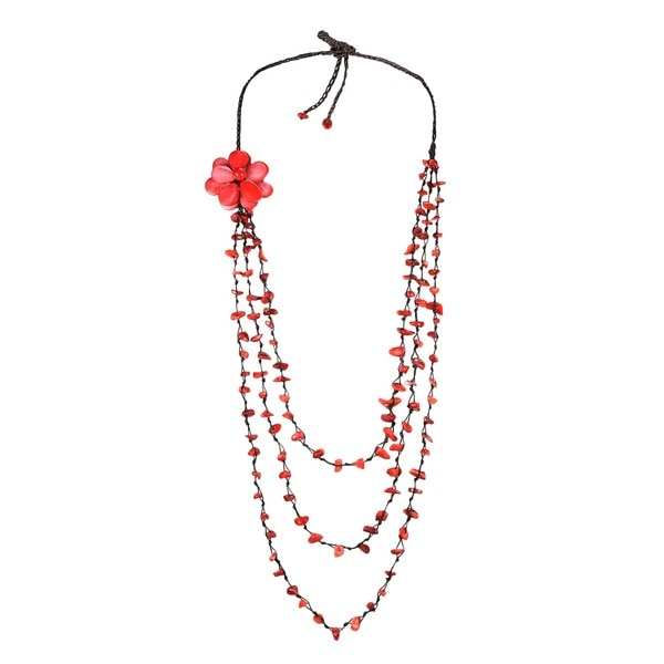 Handmade Sweet Red Lotus Triple Layer Red Coral Necklace/ Belt (Thailand)