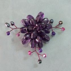 Dark Purple Charming Lotus Flower Amethyst Stone Pin-Brooch (Thailand)