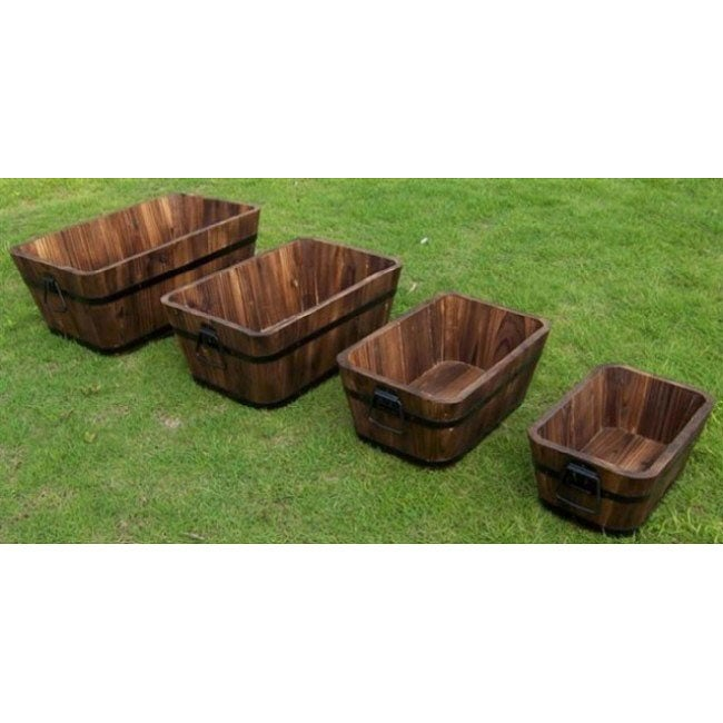 Cedar Wood Rectangular Planters (Set of 4) - Thumbnail 0