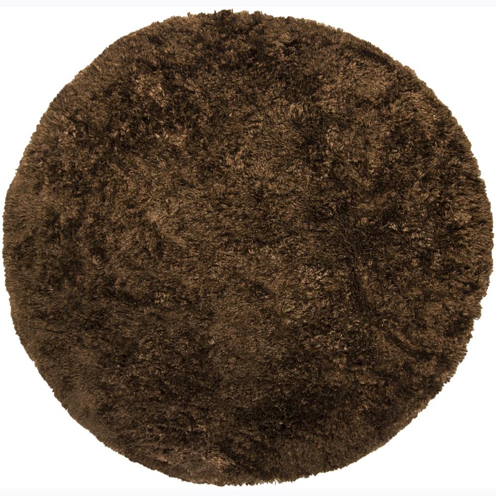 Handwoven Dark Chocolate-Brown Mandara Shag Rug (7'9 Round)