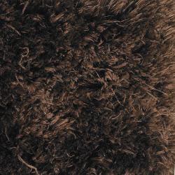 Handwoven Dark Chocolate-Brown Mandara Shag Rug (7'9 Round) - Thumbnail 1
