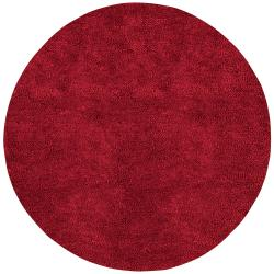 Hand-woven Huron Colorful Plush Shag New Zealand Felted Shag Wool Rug (10' Round)