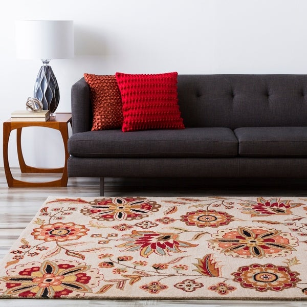 Hand-tufted Milbank Beige Floral Wool Area Rug - 10' x 14'