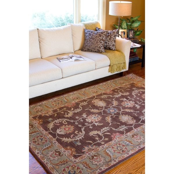 Hand-tufted Traditional Hartford Chocolate Floral Border Wool Area Rug (9' x 12')