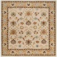 Hand-tufted Traditional Sisseton Vanilla Floral Border Wool Area Rug (9'9 Square) - 9'9