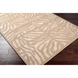 Candice Olson Hand-tufted Tan Zebra Animal Print Lennox  Wool Rug (9' x 13') - Thumbnail 1