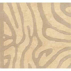 Candice Olson Hand-tufted Tan Zebra Animal Print Lennox  Wool Rug (9' x 13') - Thumbnail 2
