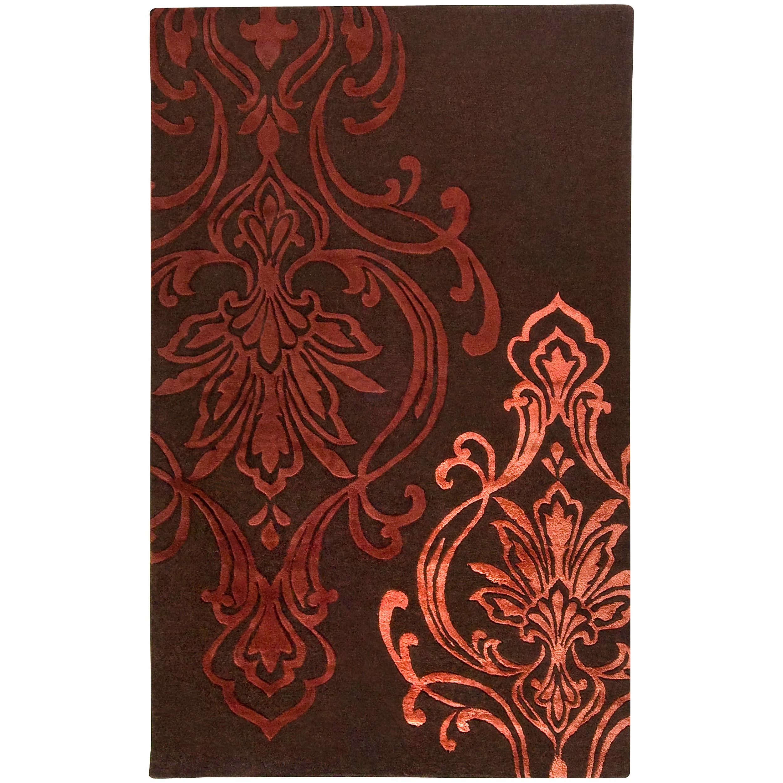 Hand-tufted Custer Damask Pattern Wool Area Rug (9' x 13')