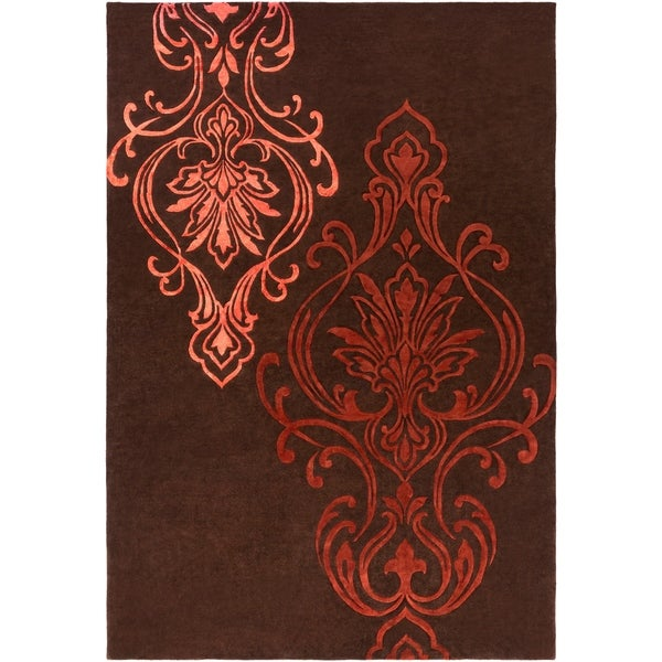Hand-tufted Custer Damask Pattern Wool Area Rug - 9' x 13'