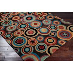 Hand-tufted Contemporary Multi Colored Circles Geometric Beresford New Zealand Wool Rug (9' x 13') - Thumbnail 2