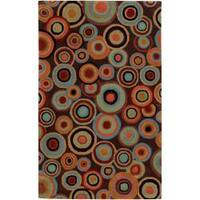 Hand-tufted Contemporary Multi Colored Circles Geometric Beresford New Zealand Wool Area Rug - 9' x 13'