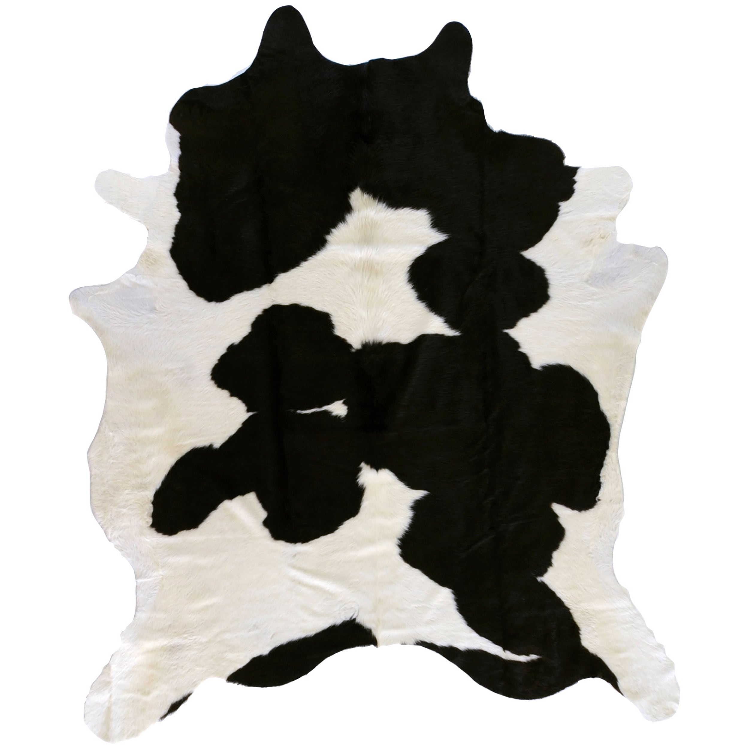 Hand Crafted Wagner Black White Leather Cowhide Rug 7