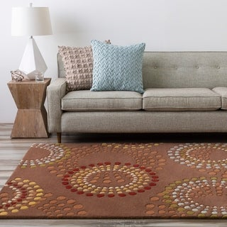 Hand-tufted Brown Contemporary Circles Miller Wool Geometric Rug (12' x 15')