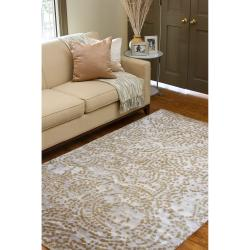 Hand-knotted Faulkton Abstract Design Wool Rug (5' x 8') - Thumbnail 1