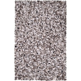 Hand-woven Canistota New Zealand Felted Wool Stone Look Textured Area Rug (5' x 8')