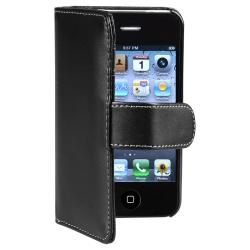 INSTEN Black Wallet Leather Phone Case Cover for Apple iPhone 4 AT&T/ Verizon