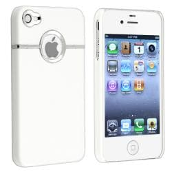 White with Chrome Hole Snap-on Rubber Case for Apple iPhone 4/ 4S - Thumbnail 1