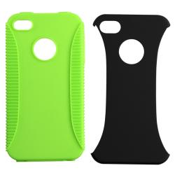 Green Hybrid Case/ LCD Protector/ Headset/ Wrap for Apple iPhone 4S - Thumbnail 1