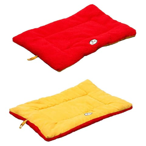 Pet Life 'Eco-Paw' Dual-Sided Reversible Mustard Yellow/ Red Pet Bed