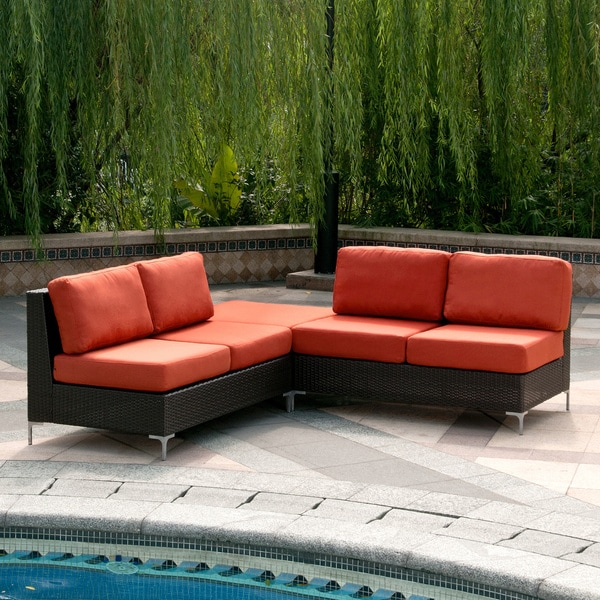 angelo:HOME Napa Springs Red Tulip 3 Piece Indoor/Outdoor Wicker Furniture Set