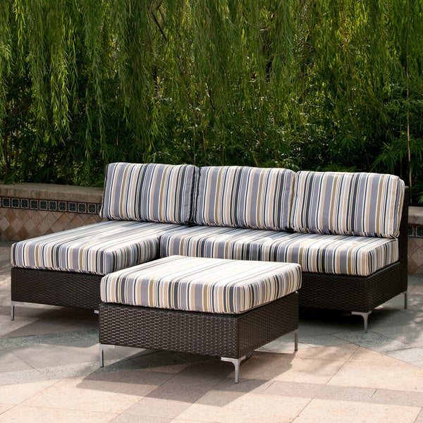 Handy Living Napa Springs Newport Stripe 4 Piece Indoor Outdoor Wicker Furniture Set Free Shipping Today 6427632