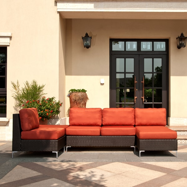 Handy Living Napa Springs Red Tulip 4 Piece Indoor/Outdoor Wicker Furniture Set