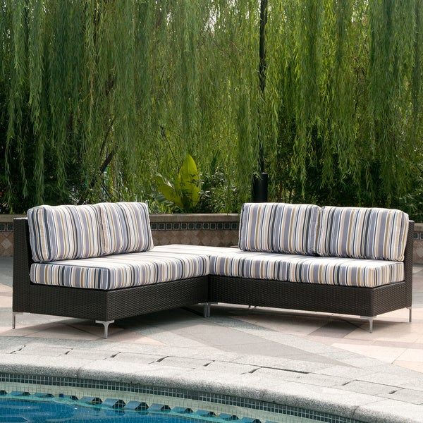 Handy living napa springs newport stripe 3 piece indoor outdoor wicker furniture set free Angelo home patio furniture