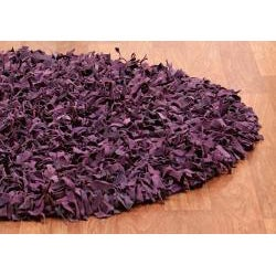 Hand-tied 'Pelle' Purple Leather Shag Rug (8' x 8') - 8' x 8'