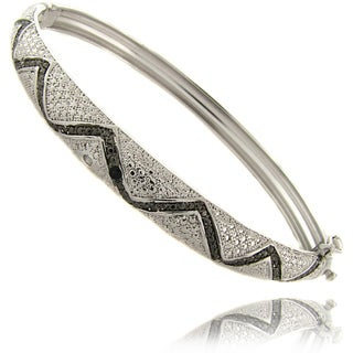 Finesque Sterling Silver Black and White Diamond Bangle