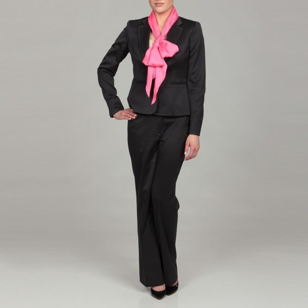 Anne Klein Women's Midnight Pink Scarf Pant Suit