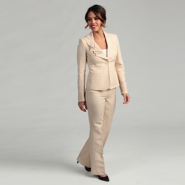 Anne Klein Women's Ruffle Lapel Pant Suit