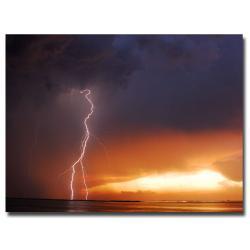 Kurt Shaffer 'Lightning Sunset IV' Canvas Art
