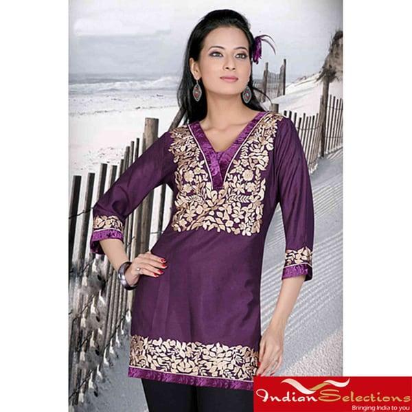 Purple 3/4-sleeve Kurti/ Tunic with Designer Embroidery (India)