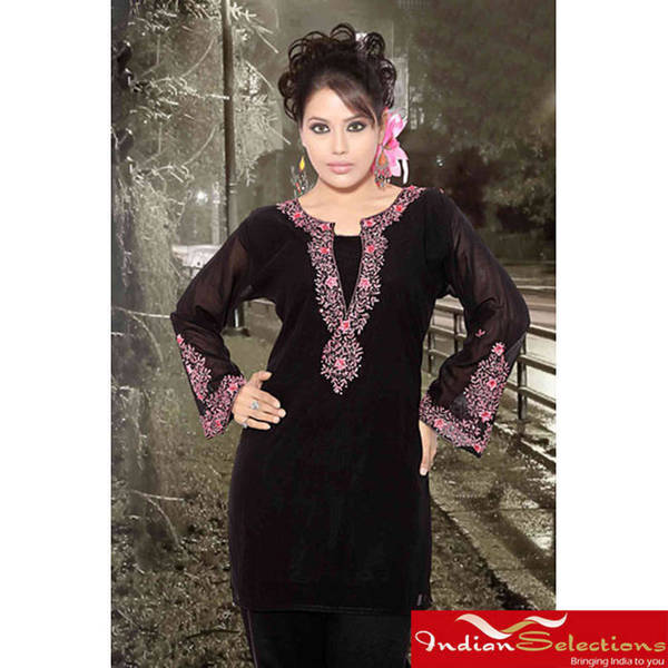 Handmade Black Long-sleeve Kurti/ Tunic with Designer Embroidery (India)
