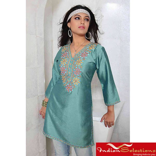 Handmade Island Green 3/4-sleeve Kurti/ Tunic with Designer Embroidery (India)