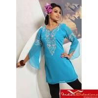 Handmade Blue Embroidered 3/4 Sleeve Kurti/Tunic (India)