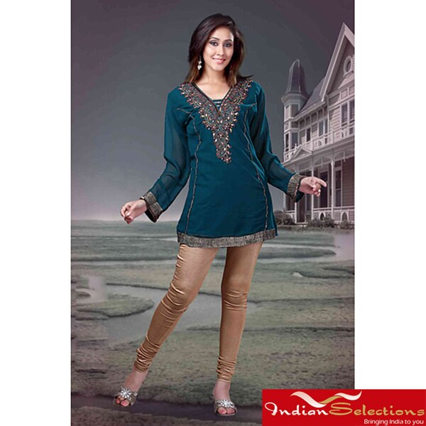 Rama Green Long-sleeve Kurti/ Tunic with Designer Embroidery (India)