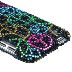 INSTEN Black Bling Peace Sign Snap-on iPod Case Cover for Apple iPod Touch 4th Gen - Thumbnail 1