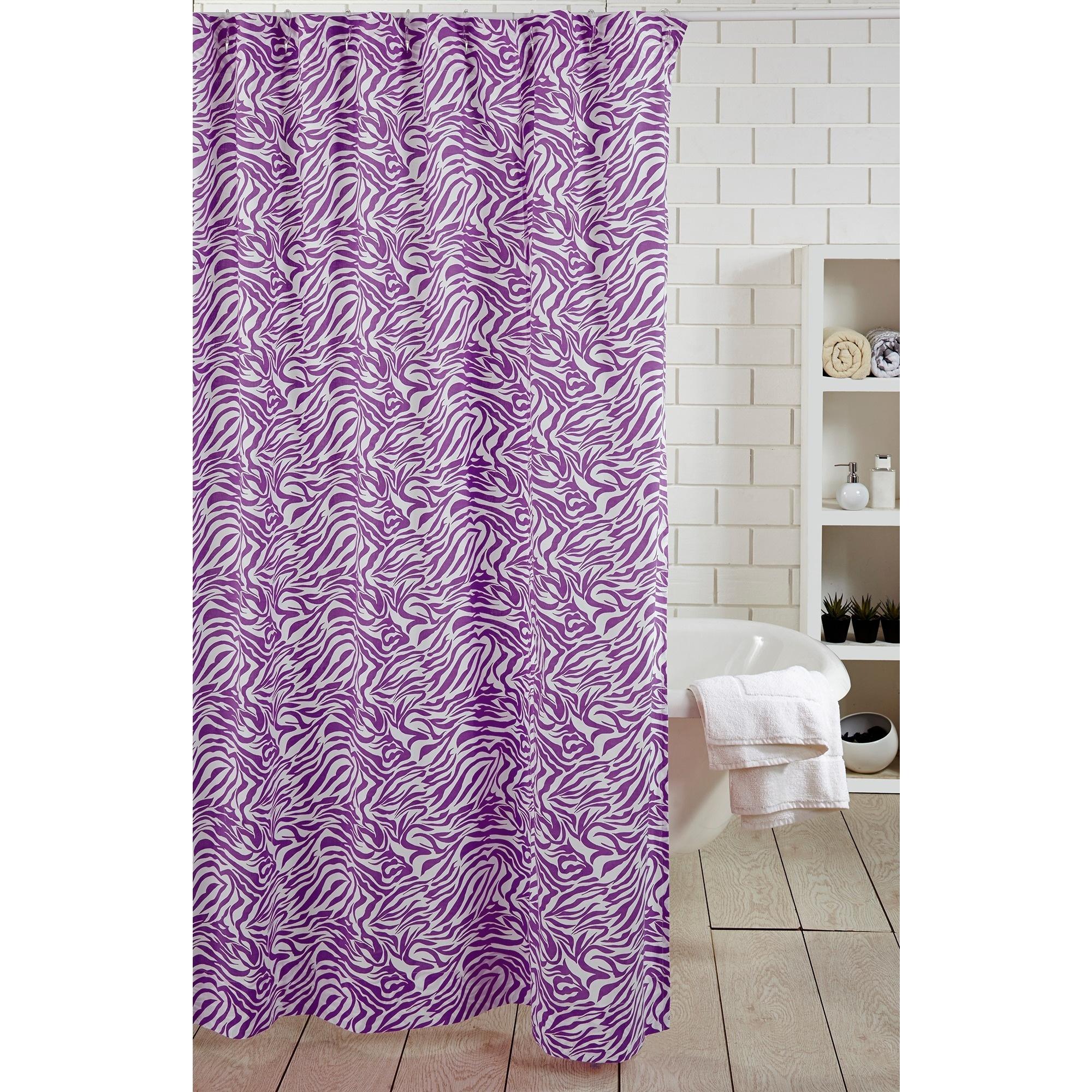 Cottage Home Purple Zebra Shower Curtain (Cotton, Animal ...