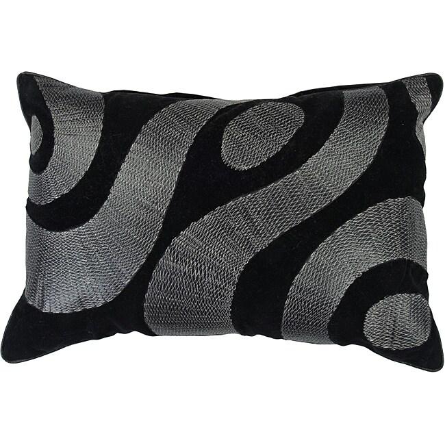 Swirl 20x13 Black/Silver Down Decor Pillow