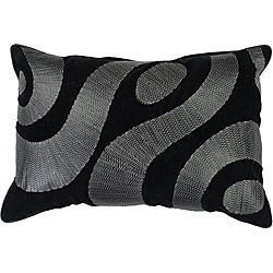 Swirl 20x13 Black/Silver Down Decor Pillow