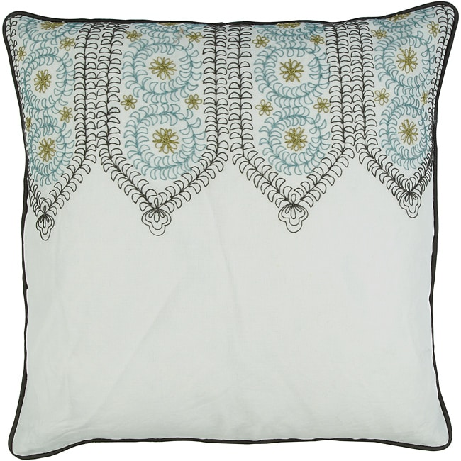 Large White Throw Pillow : Decorative Square Pazz Large White/Teal Pillow - Free Shipping On Orders Over $45 - Overstock ...