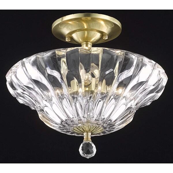 Somette Crystal Gold 3-Light Semi-Flush Mount