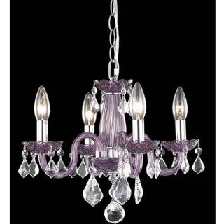 Somette Crystal Lattice Lavender 4-light Chandelier