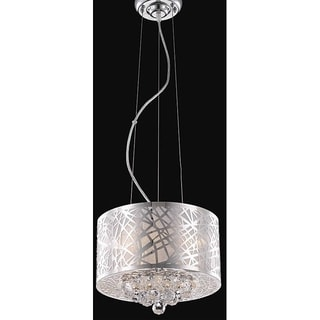 Somette Chrome Classic Three-Light Crystal Drop Chandelier
