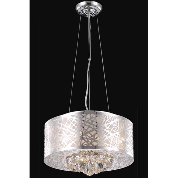 Somette Chrome Four-Light Crystal Drop Hanging Chandelier