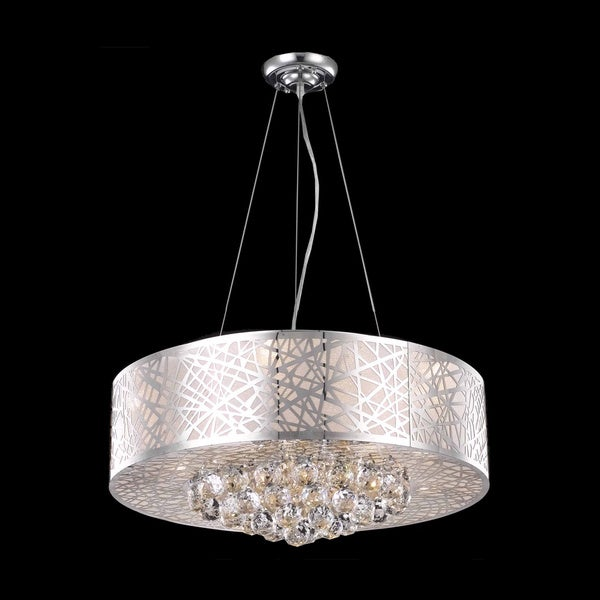 Somette Chrome 9-light Crystal Drop Chandelier