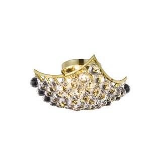 Somette Flush Mount Gold 4-Light Crystal Drop Chandelier