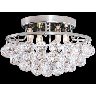 Somette 4-light Chrome/ Crystal Bead Chandelier