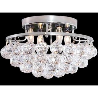 Somette 4-light Chrome/ Crystal Bead Chandelier